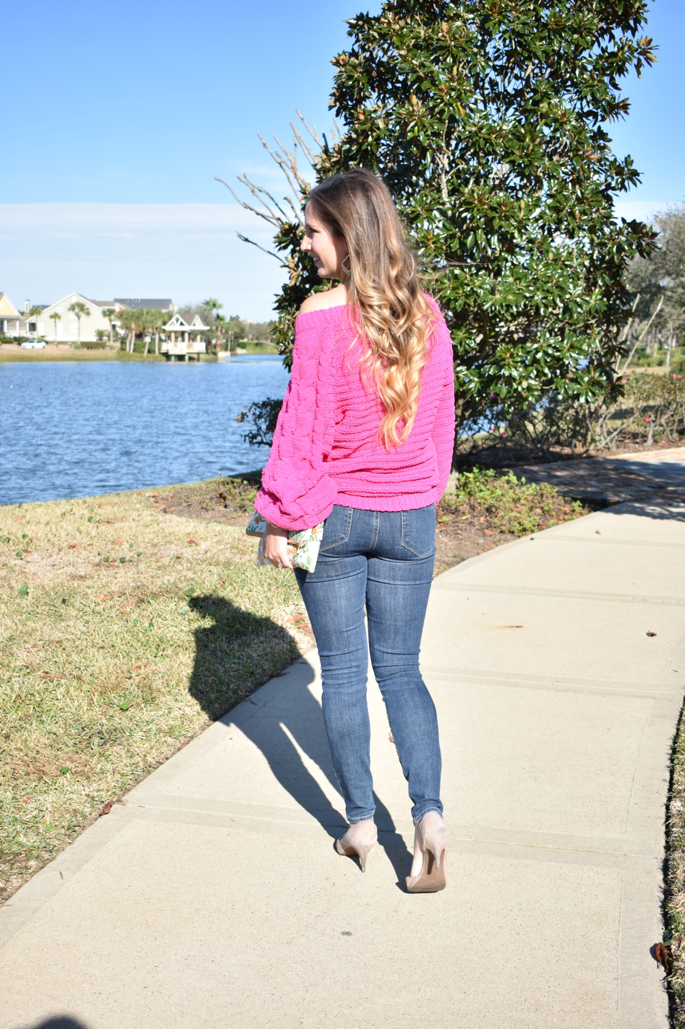 Pink Chenille sweater Cait and Co Blog