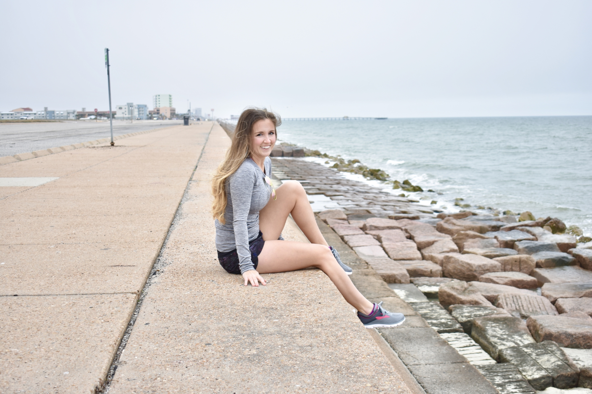 Grey Lululemon long sleeve and floral running shorts